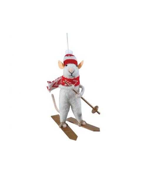 Πάνινο Χριστουγεννιάτικο Στολίδι Ποντίκι 8 x 5 x 13 (h)cm
