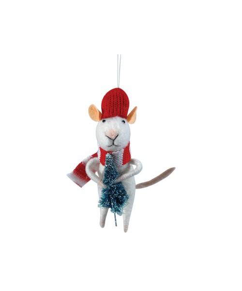 Πάνινο Χριστουγεννιάτικο Στολίδι Ποντίκι 6 x 4 x 13 (h)cm